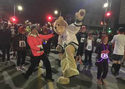 Community First Credit Union Mascot at Santa Scamper