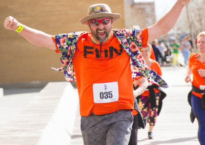 Man excited finishing a race